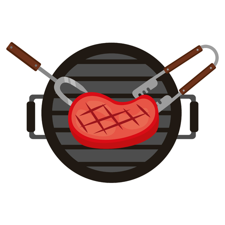 grill barbecue meat steak fork and tongs vector illustration Stockfoto - 126821034