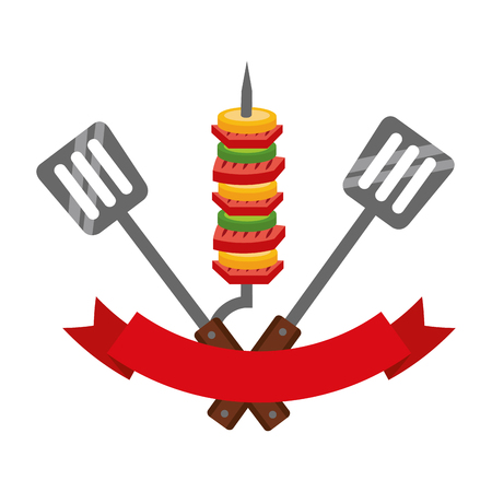grill barbecue skewers spatulas and ribbon vector illustration