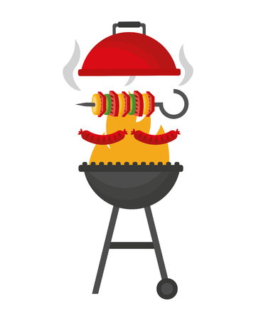grill barbecue roasted skewer and sausage vector illustration Illustration
