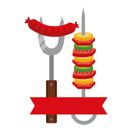 barbecue fork sausage and skewer vector illustration