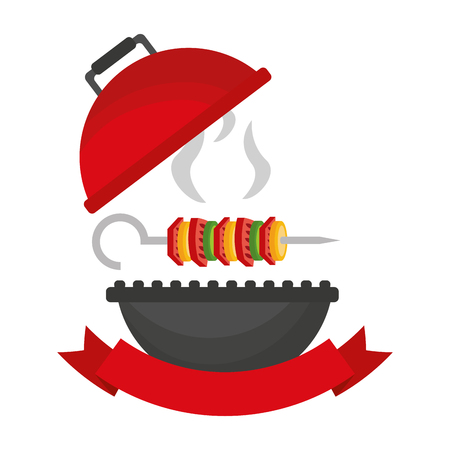 grill barbecue skewer hot food vector illustration