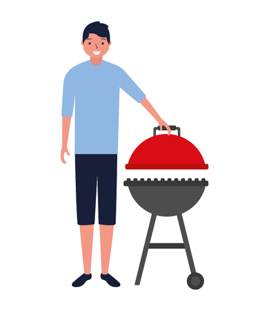 young man barbecue equipment white background vector illustration Illustration