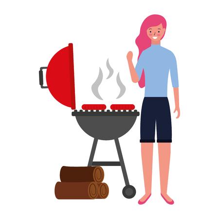 Frau mit Grillwürstchen und Holzvektorillustration