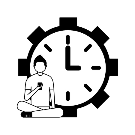 man sitting with mobile and clock daily routine vector illustration