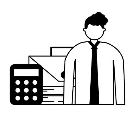 empresario con calculadora de dinero y maletín ilustración vectorial