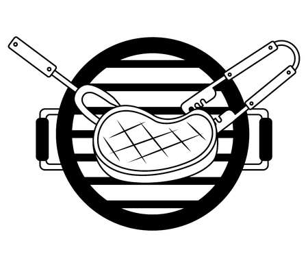 grill barbecue meat steak fork and tongs vector illustration Stockfoto - 126821058