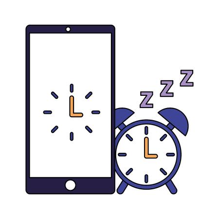 alarm clock mobile sleep daily routine vector illustration