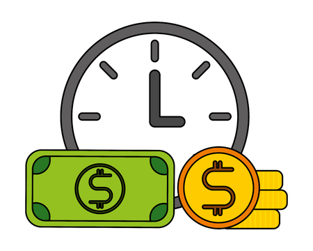 clock banknote and coin business vector illustration