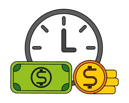 Ilustración de vector de negocio de billetes y monedas de reloj Ilustración de vector