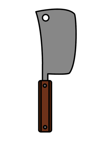 meat cleaver utensil kitchen on white background vector illustration