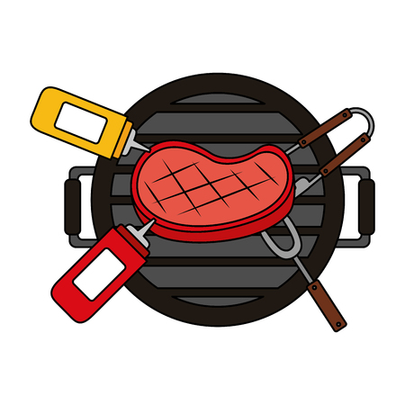 grill barbecue with handles on white background vector illustration