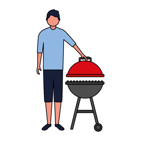 young man barbecue equipment white background vector illustration Çizim