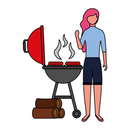 woman with barbecue sausages and wooden vector illustration