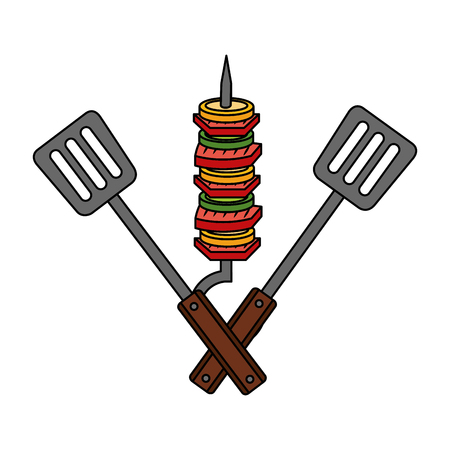 skewer with spatulas barbecue on white background vector illustration