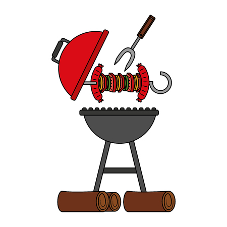 grill barbecue skewer and fork vector illustration Illustration