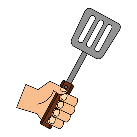 hand holding spatula on white background vector illustration  イラスト・ベクター素材
