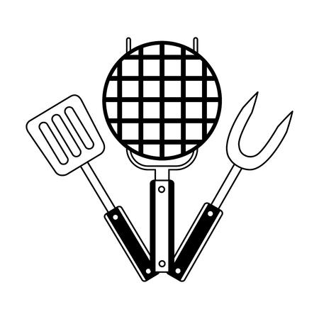 Grill-Grillgabel-Spachtel auf weißem Hintergrund-Vektor-illustration Vektorgrafik