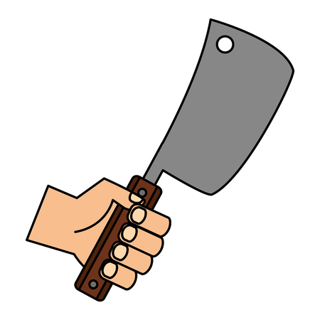 hand holding meat cleaver on white background vector illustration Illustration