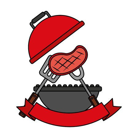 grill barbecue meat on fork vector illustration