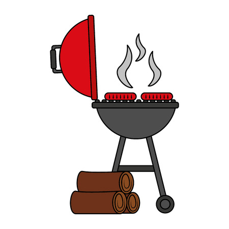 grill barbecue sausages and wooden trunks vector illustration
