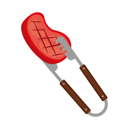 barbecue tongs with meat steak vector illustration