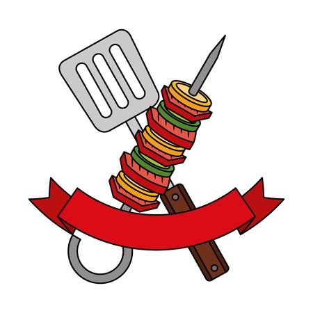 skewer and spatula barbecue ribbon vector illustration Ilustração