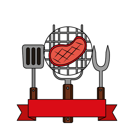 grill barbecue steak fork spatula vector illustration 向量圖像