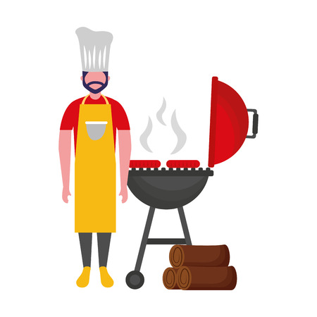 chef man withbarbecue grill sausages vector illustration