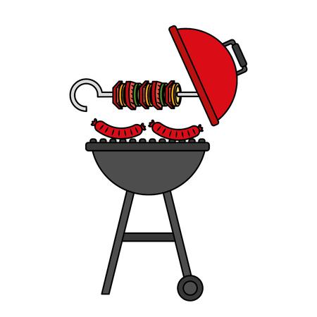 grill barbecue skewer hot sausages vector illustration Standard-Bild - 126821122
