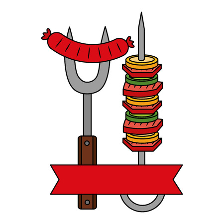 barbecue fork sausage and skewer vector illustration Archivio Fotografico - 126821123