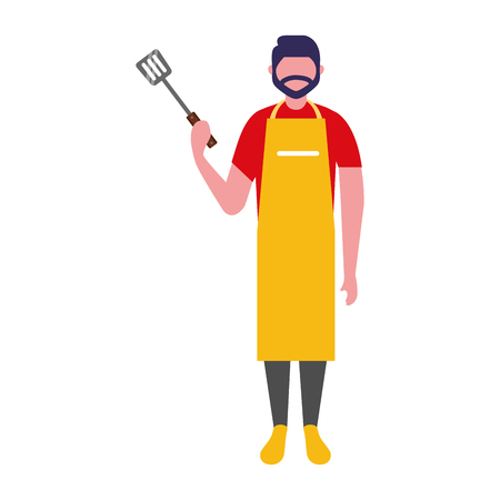 man with apron and spatula utensil vector illustration Illustration