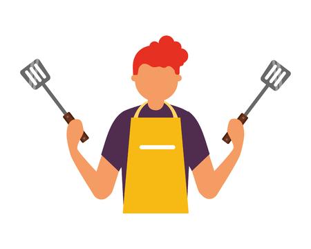man holding two spatulas utensils vector illustration