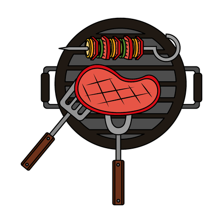 grill barbecue meat skewer fork vector illustration
