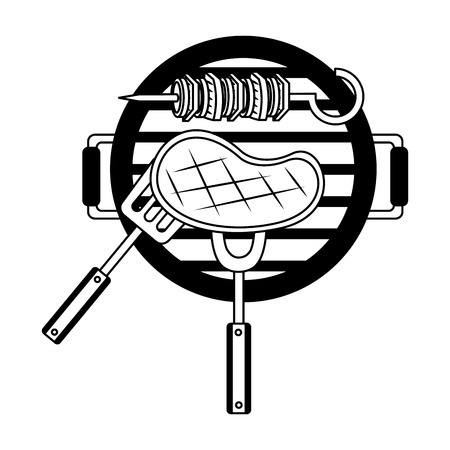 grill barbecue meat skewer fork vector illustration