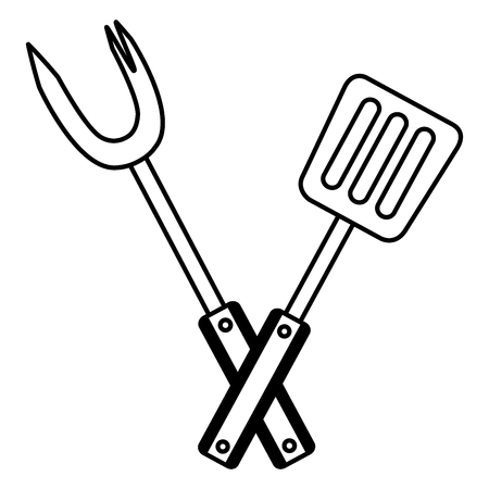 fork and spatula utensils on white background vector illustration Illustration