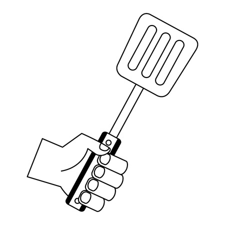 hand holding spatula on white background vector illustration Illustration