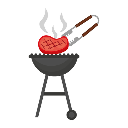 barbecue grill with meat and tongs vector illustration Stock Vector - 126821141