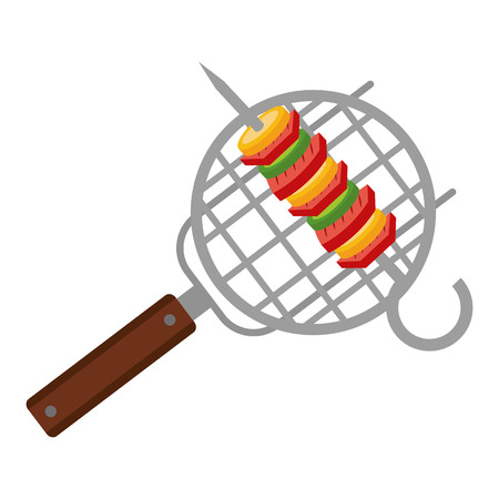kebab on barbecue grill food vector illustration