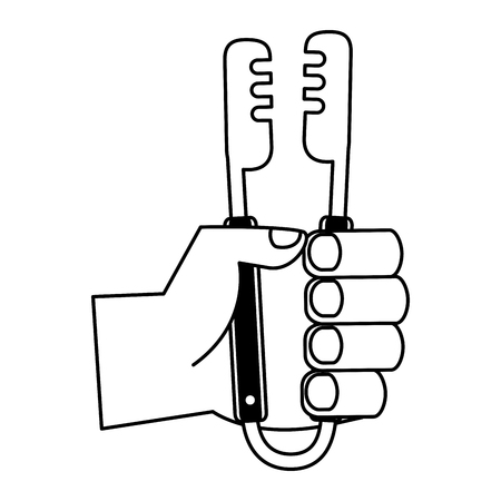 hand holding tongs utensil on white background vector illustration