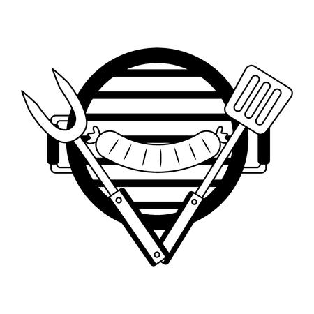 parrilla, barbacoa, salchicha, tenedor, y, espátula, vector, ilustración Ilustración de vector