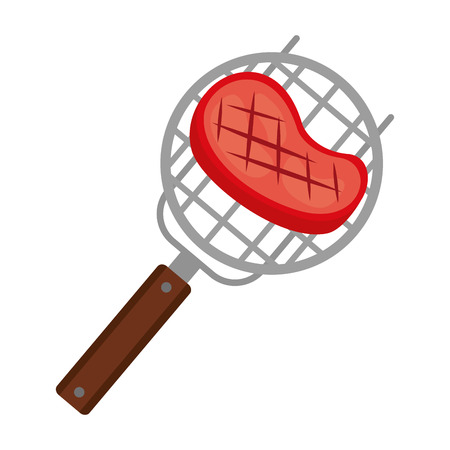 barbecue grill with meat steak vector illustration