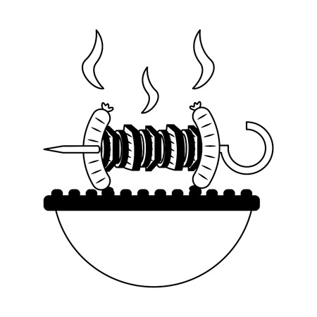 grill barbecue roasted skewer and sausage vector illustration Standard-Bild - 113826132