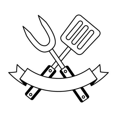 fourchette et spatule sur fond blanc vector illustration