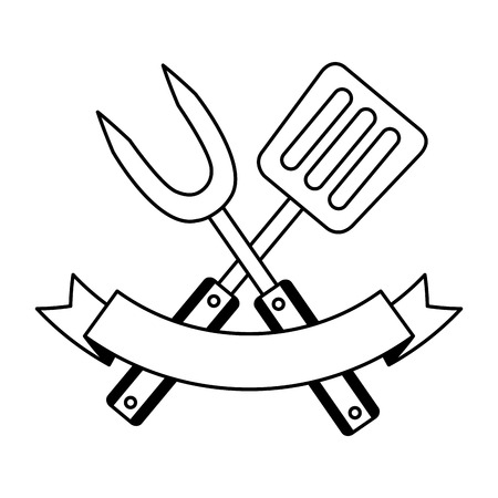 tenedor y espátula en la ilustración de vector de fondo blanco