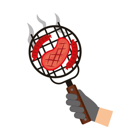 man with barbecue grill meat and kebab vector illustration Stock Illustratie
