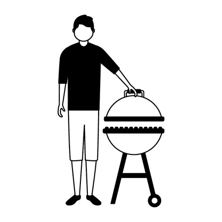 young man barbecue equipment white background vector illustration Standard-Bild - 126821164
