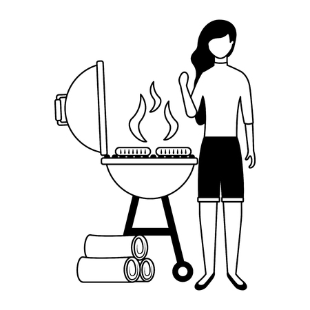 woman with barbecue sausages and wooden vector illustration Banque d'images - 126821165