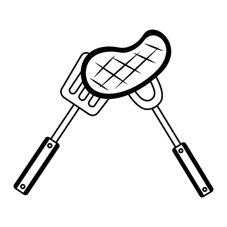 meat steak with fork and spatula vector illustration 向量圖像