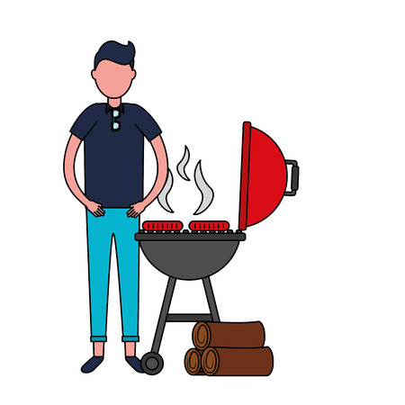 man withbarbecue grill sausages and wooden vector illustration
