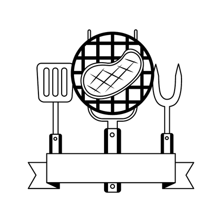grill barbecue steak fork spatula vector illustration Illustration
